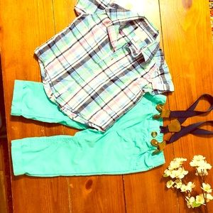 C&J/CP 18mo suspenders shirt & matching pants